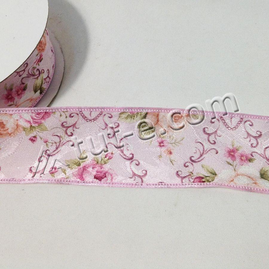 Лента декоративная розовая с цветочным орнаментом 4см-18,3м - Изображение 2