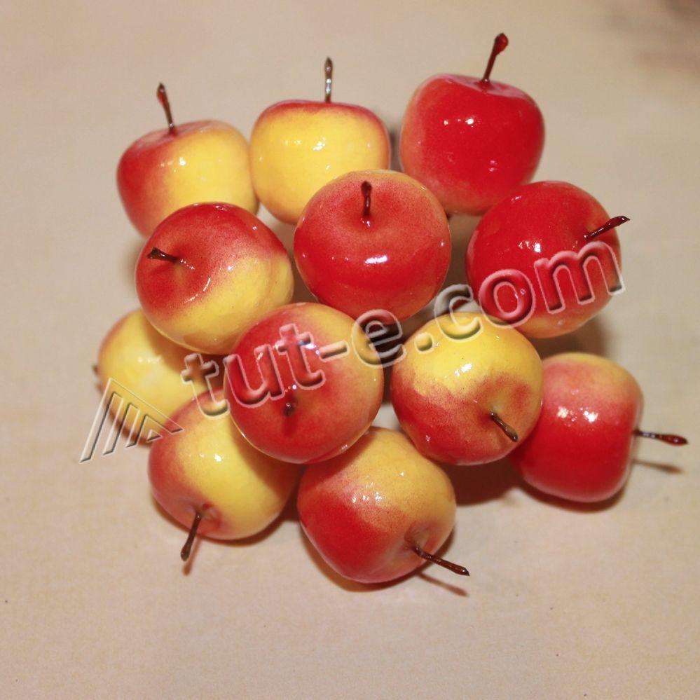 Яблоки желто-красные глянцевые 12шт