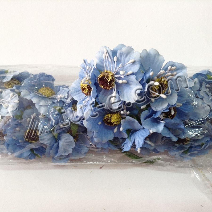 Цветок для декора мак голубой