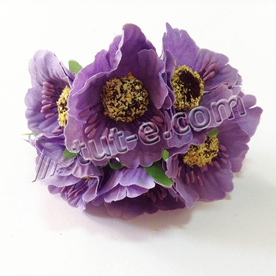 Цветок для декора мак сиреневый