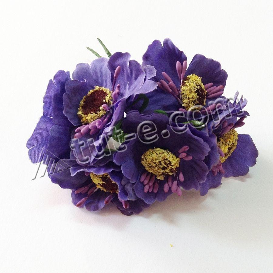 Цветок для декора мак фиолетовый