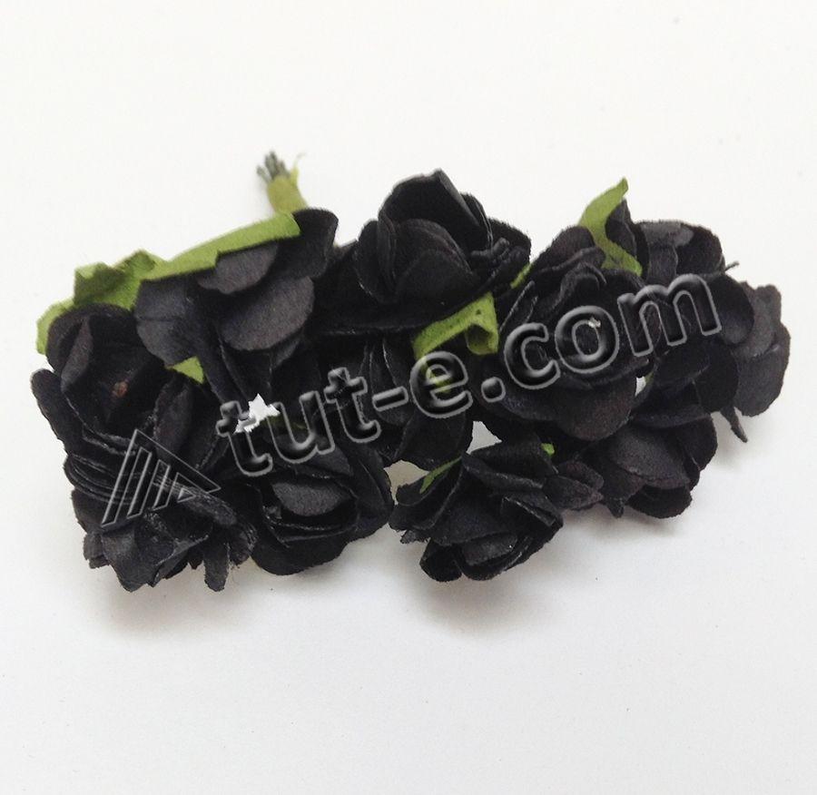 Роза бумажная черная
