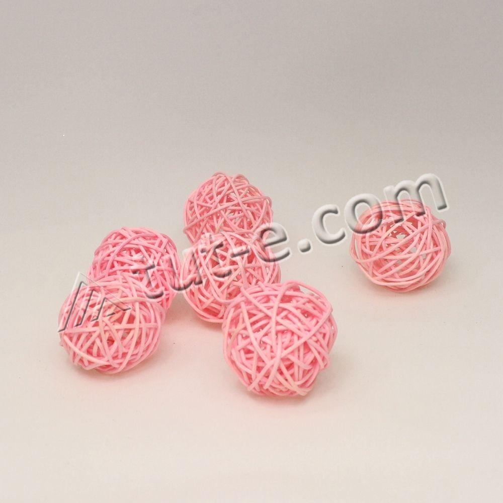 Шары из ротанга розовые 5см -упаковка 6шт