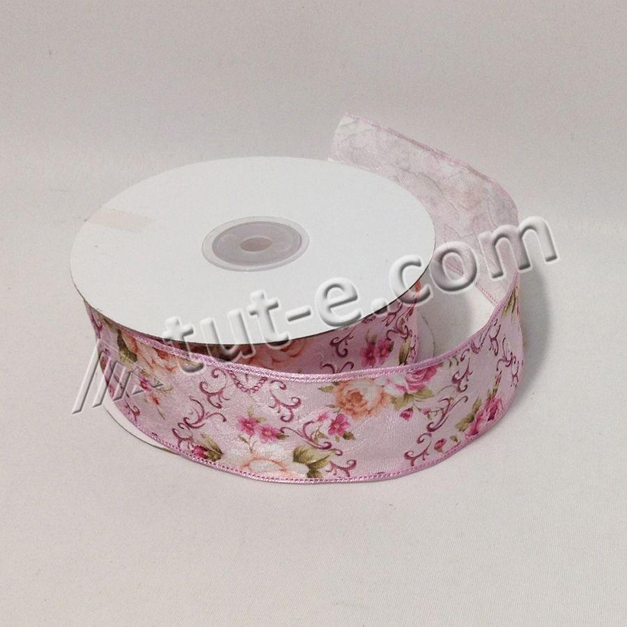 Лента декоративная розовая с цветочным орнаментом 4см-18,3м