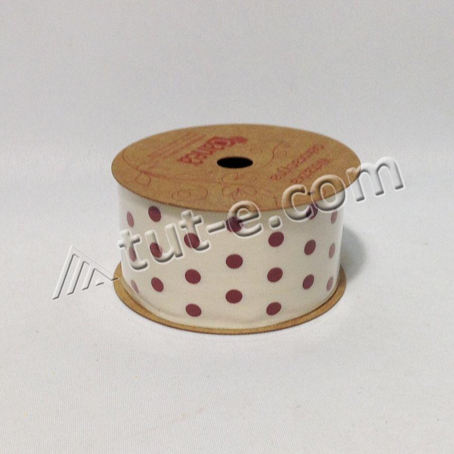 Лента тканевая в горох 4см-4,5м