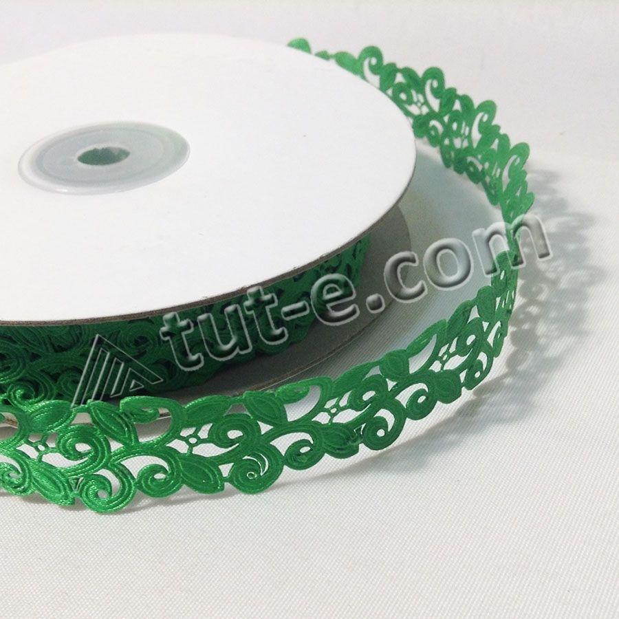 Лента кружевная зеленая-1.5см-20м