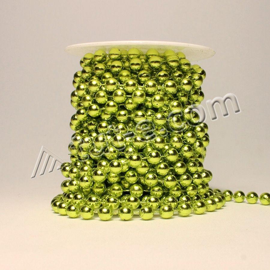 Бусина на катушке зеленая блеск 8мм-10м