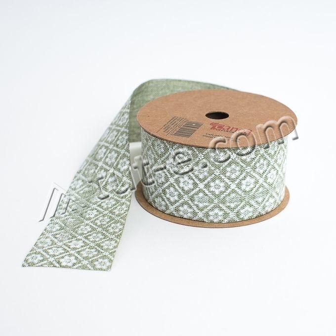Лента декоративная 4см зеленая с принтом -10м