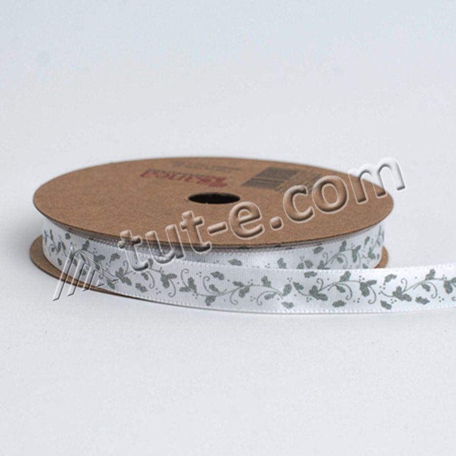 Лента декоративная атласная с принтом 1см - 10м