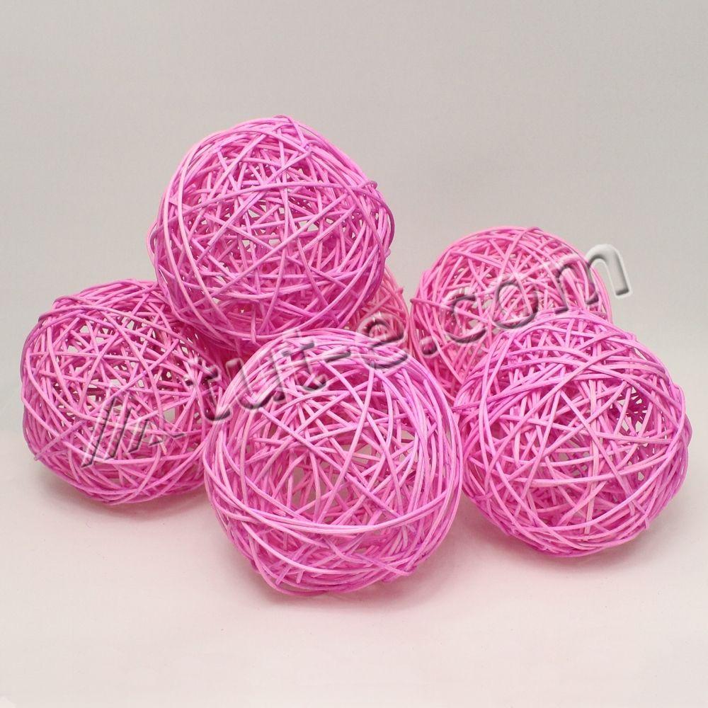 Шары из ротанга ярко- розовые 12см упаковка 6шт