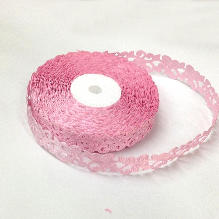 Лента кружевная нежно-розовая-1.5см-20м