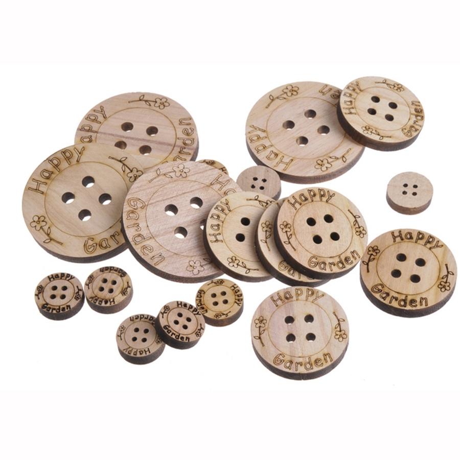Пуговицы для декора деревянные 2,5-7см- 18шт