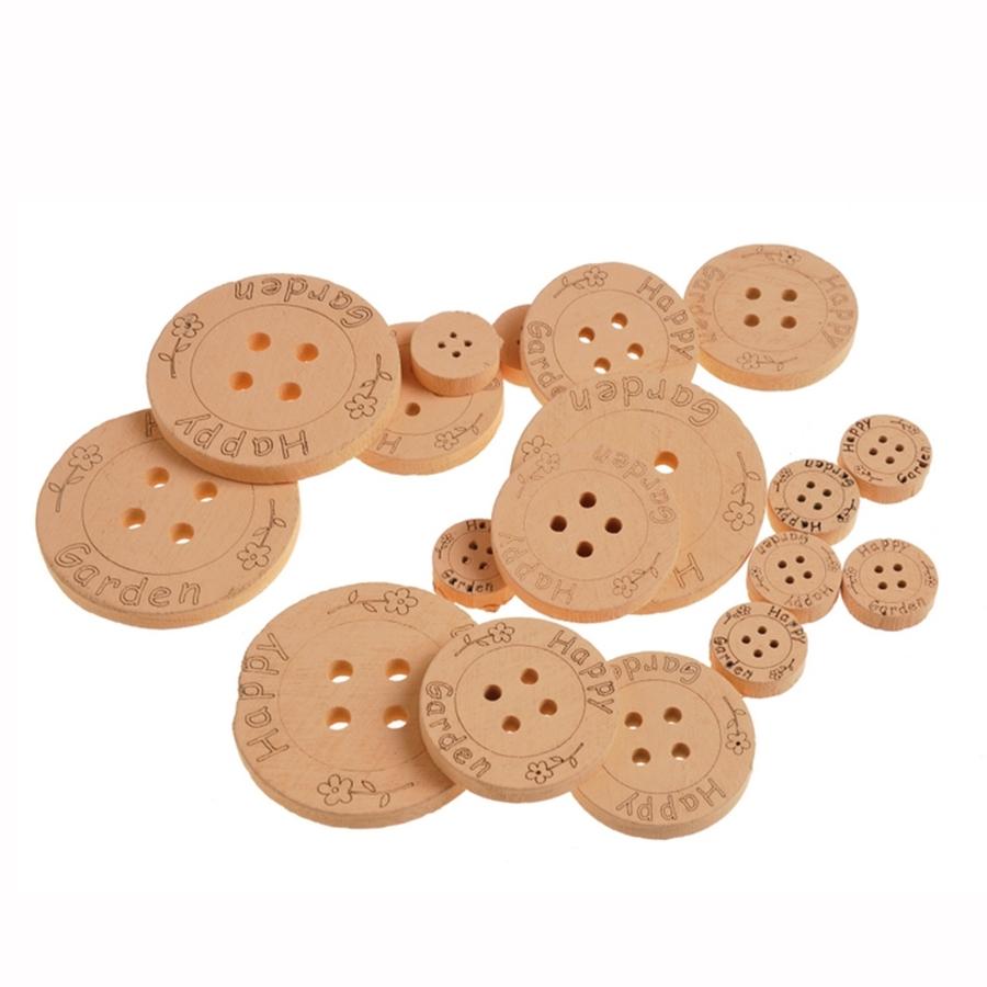 Пуговицы для декора деревянные оранжевые 2,5-7см- 18шт