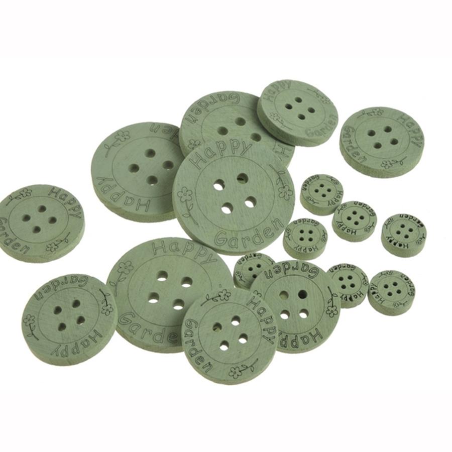 Пуговицы для декора деревянные зеленые 2,5-7см- 18шт