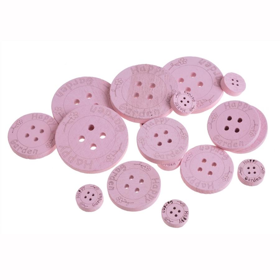 Пуговицы для декора деревянные розовые 2,5-7см- 18шт