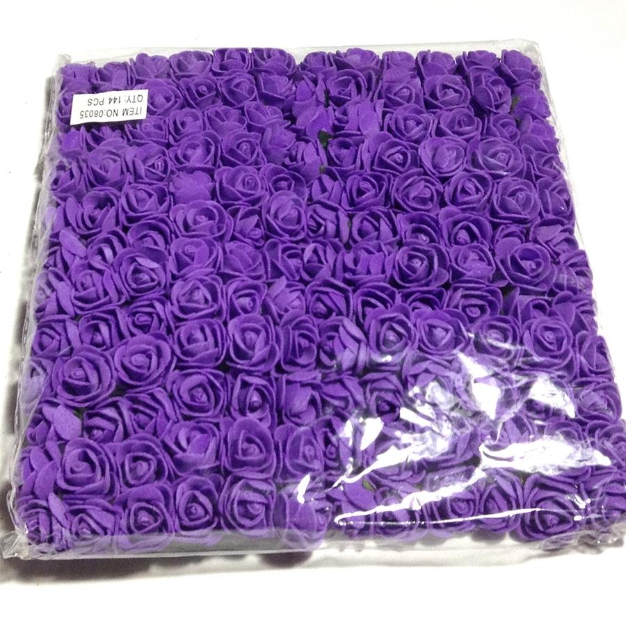 Розочки из фоамирана темно-фиолетовые 15мм