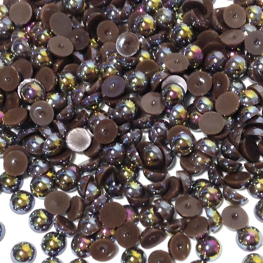 Полубусины 8мм коричневые (бензиновый блеск)