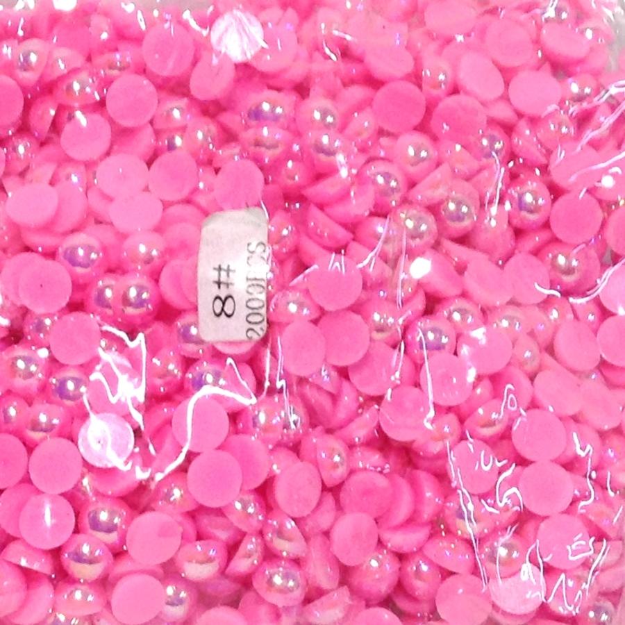 Полужемчуг 8мм (бензиновый блеск) ярко-розовый -2000шт