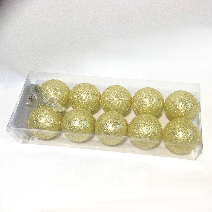 Фонарики на батарейках перламутровые-10шт- 140см золото