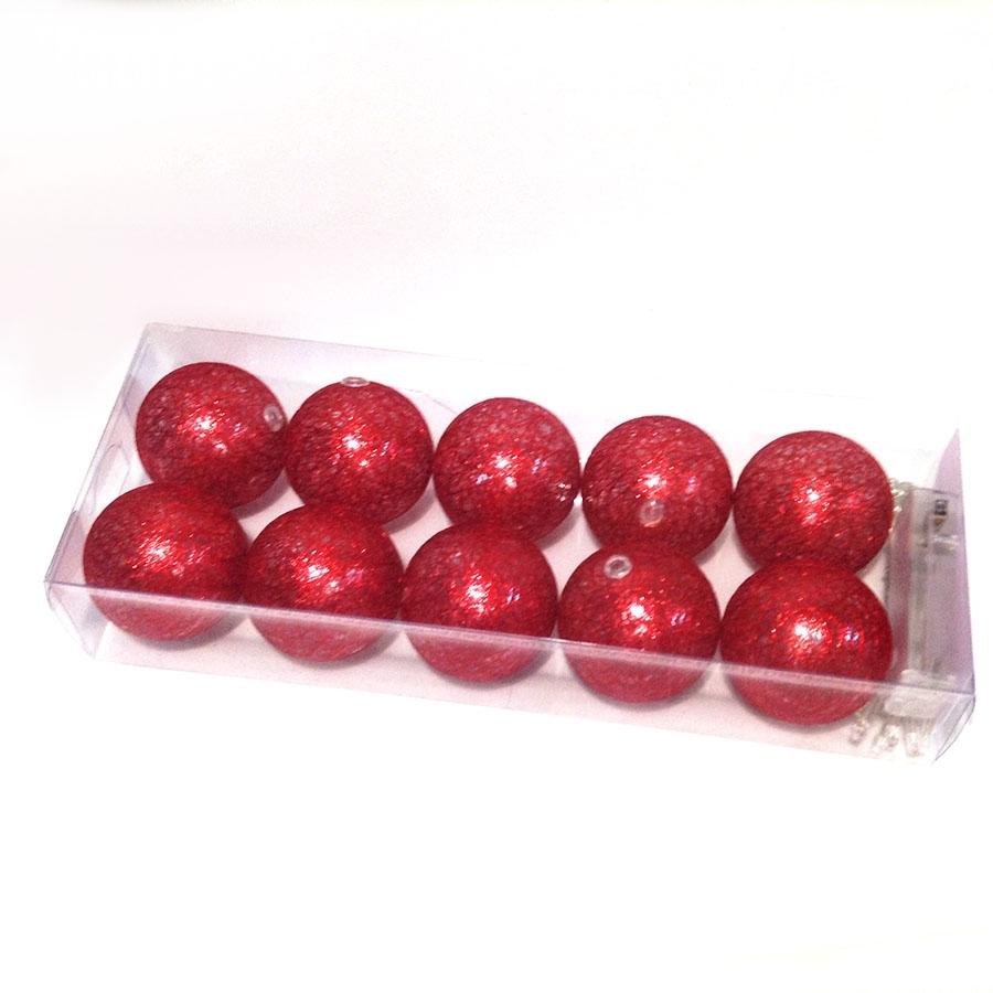 Фонарики на батарейках перламутровые-10шт- 140см красные
