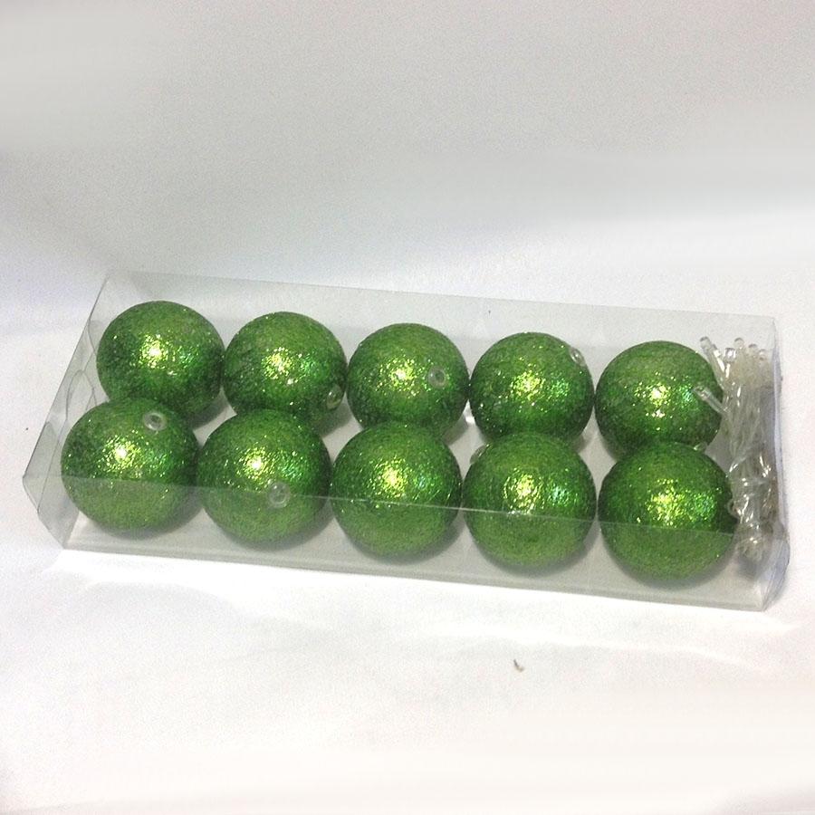 Фонарики на батарейках перламутровые-10шт- 140см ярко-зеленые