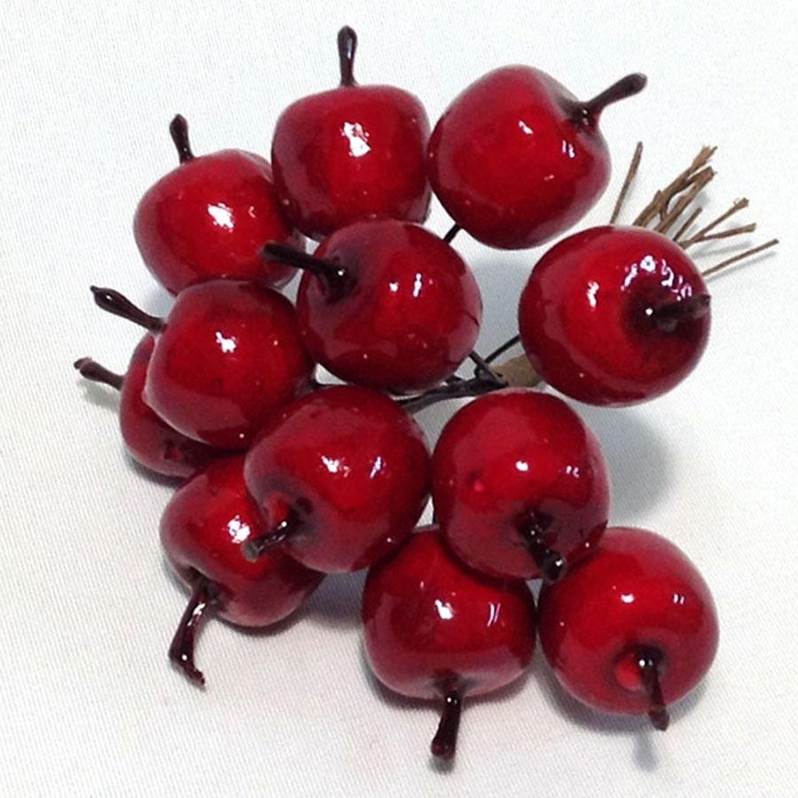 Яблоки красные глянцевые 2см - пучок 12шт