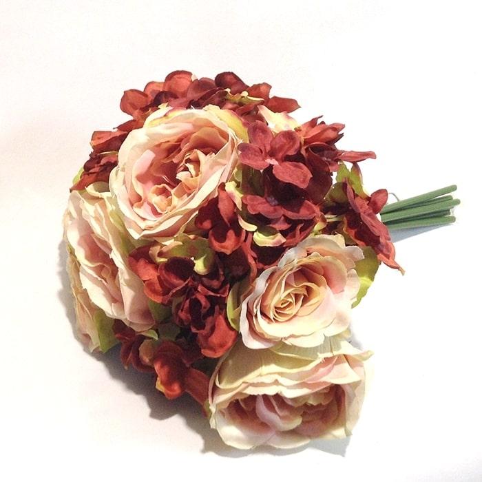 Букет роза +роза английская+гортензия терракотовый