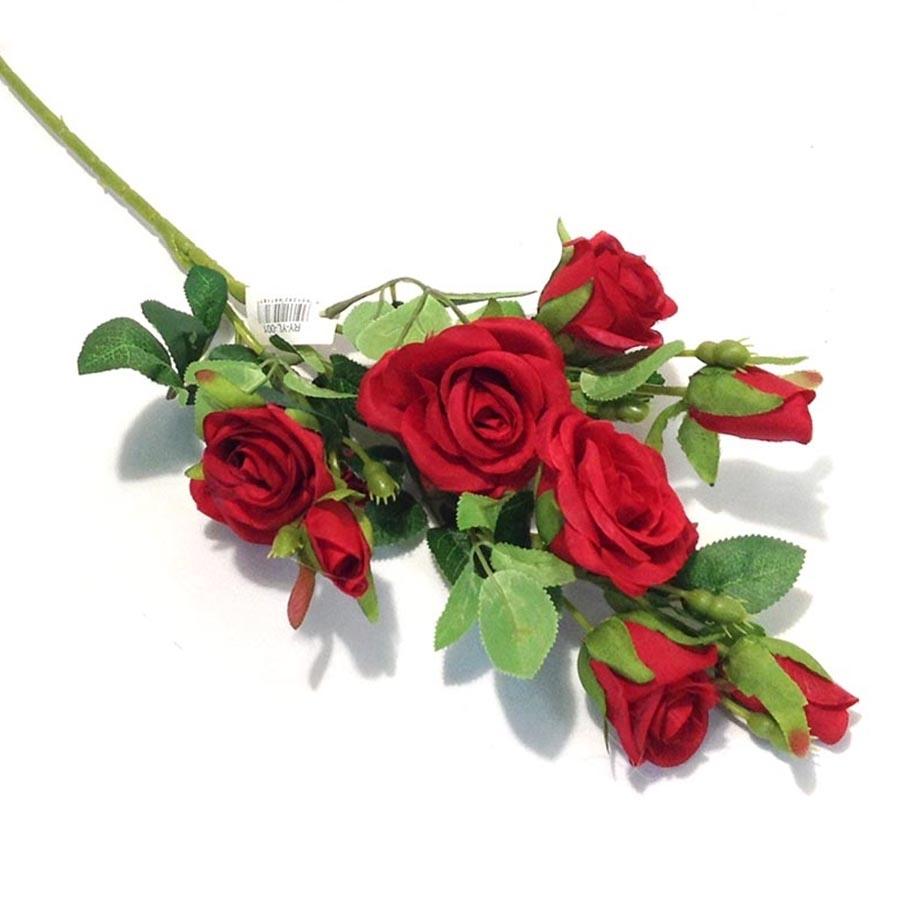 Ветка розы красная 64см