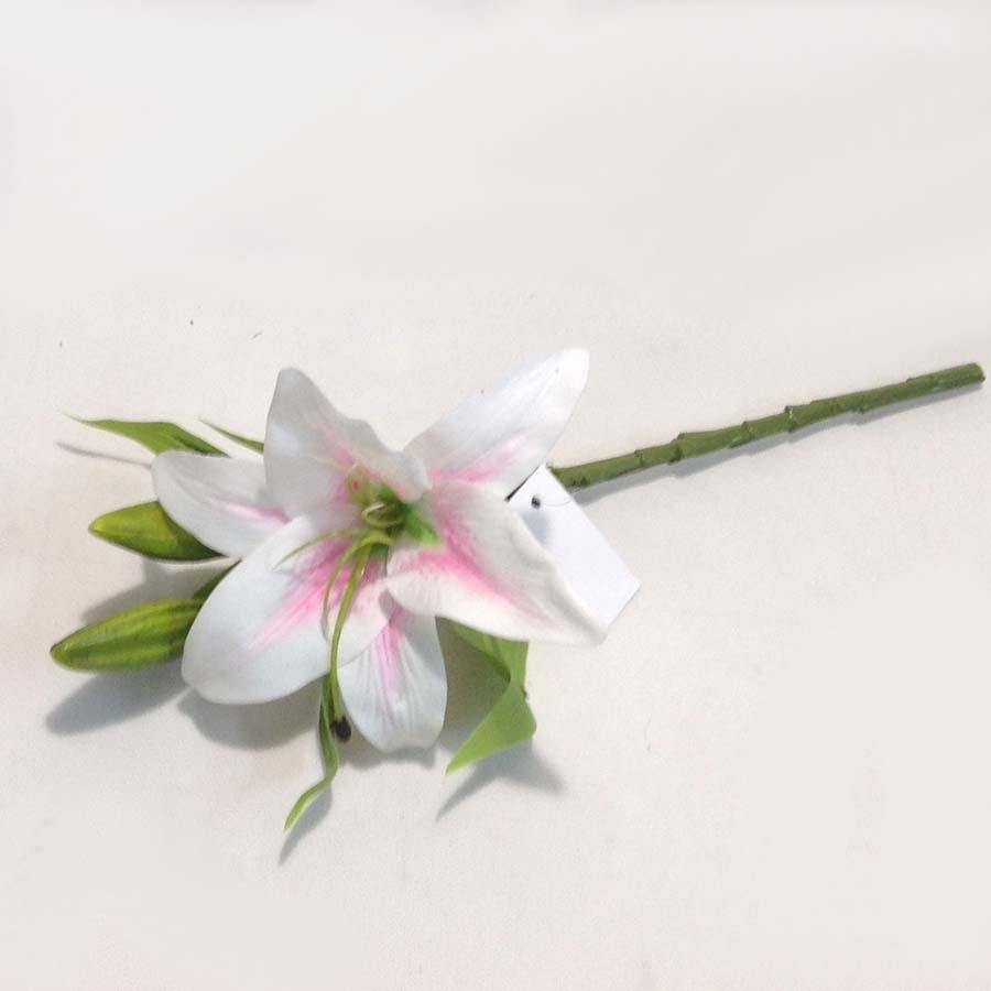 Ветка лилии нежно-розовая латексная 35см