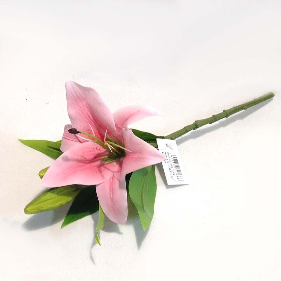 Ветка лилии розовая латексная 35см