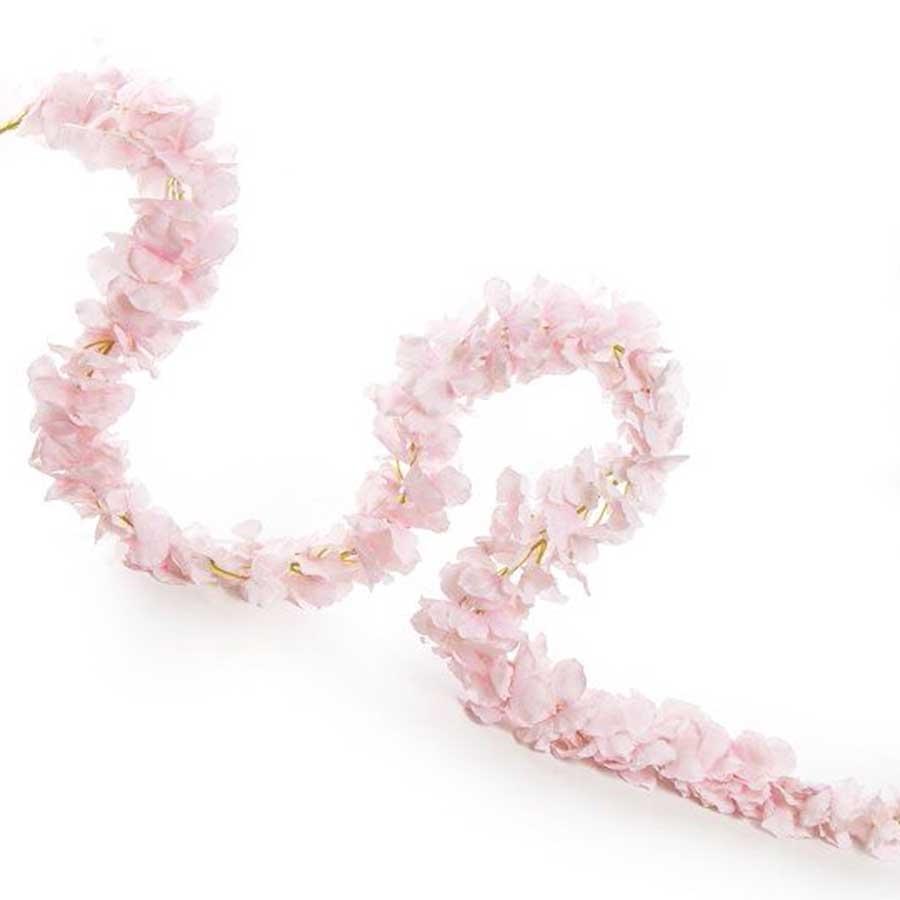 Лента вьющейся гортензии розовая 170см