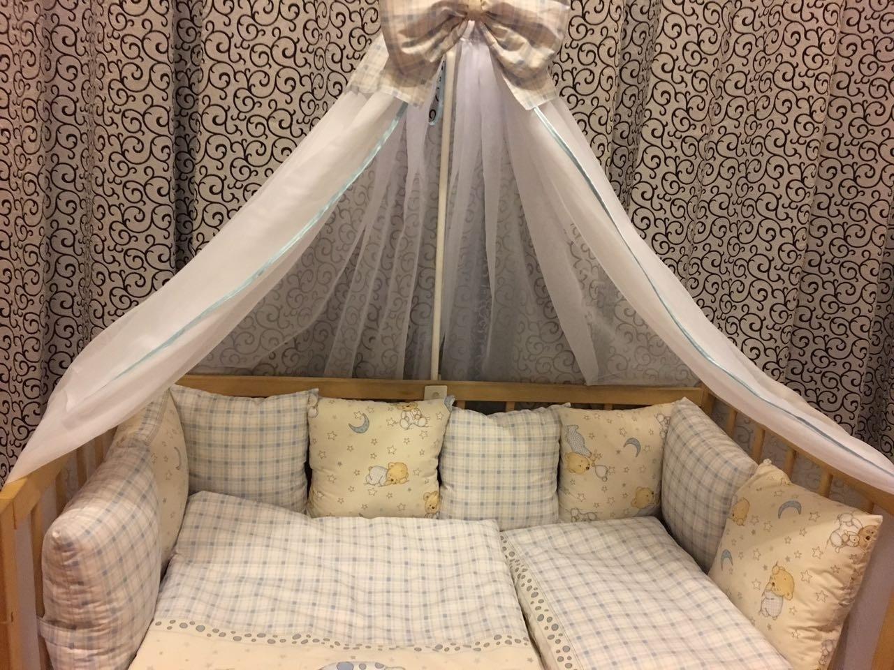 комплект в детскую кроватку с балдахином люкс ккбл - 160