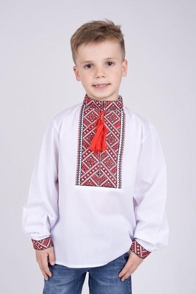 Вышиванка на мальчика с черно-красной вышивкой