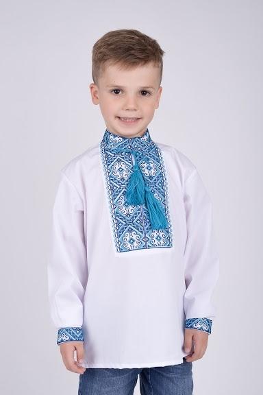 Вышиванка подростковая голубая вышивка