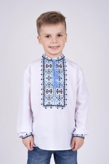 Вышиванка на мальчика черно-голубой орнамент