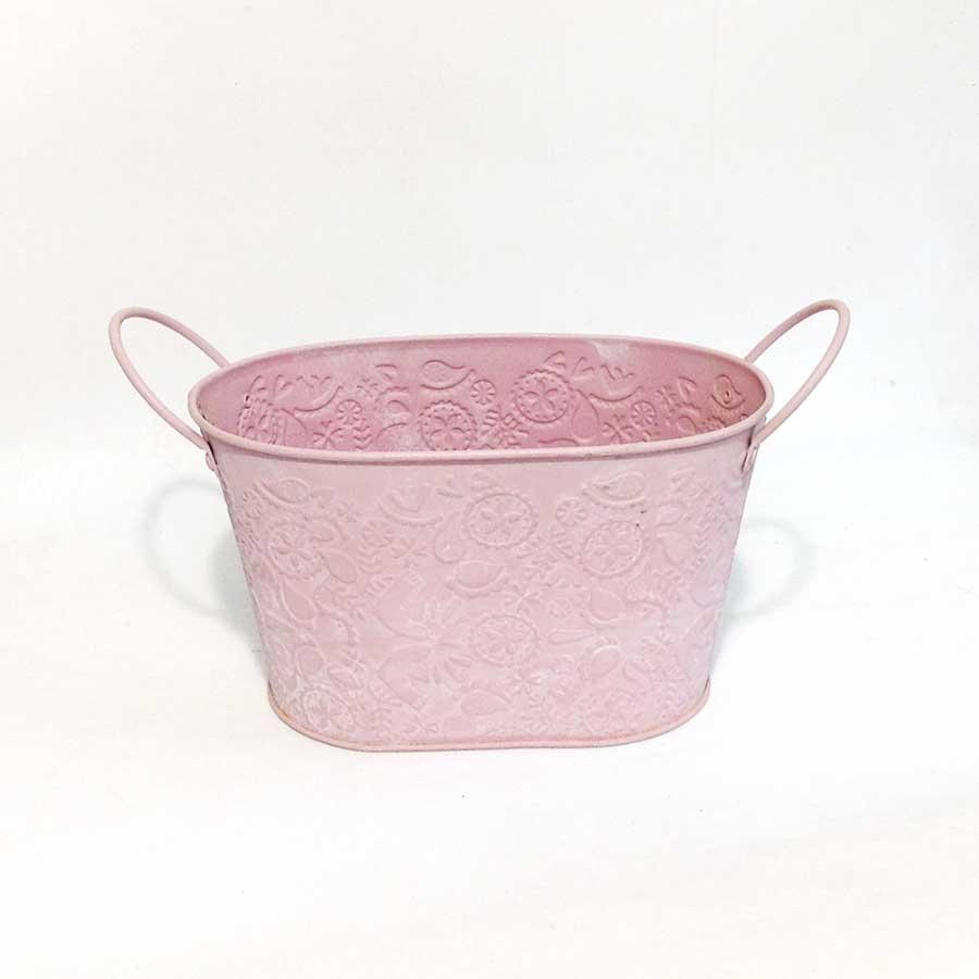 Кашпо розовое с выбитым рисунком 19х12х11см
