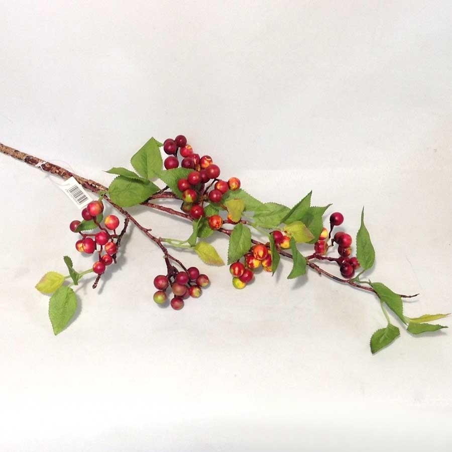 Ветка с листьями и красными ягодами 87см