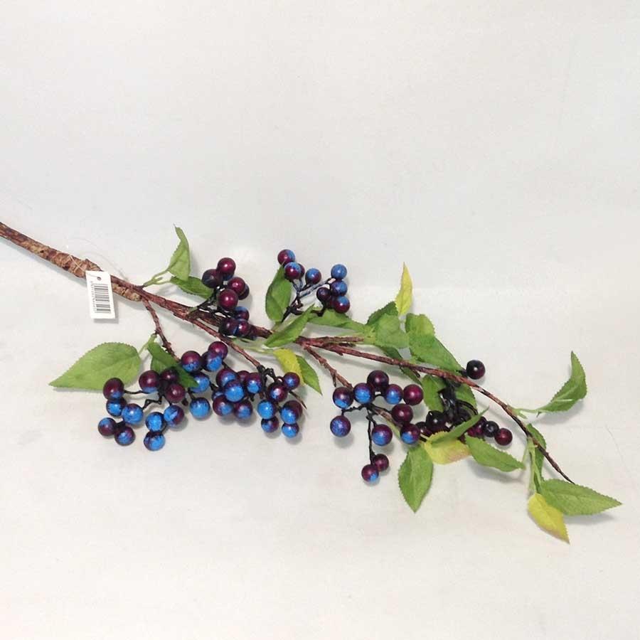 Ветка с листьями и синими ягодами 87см