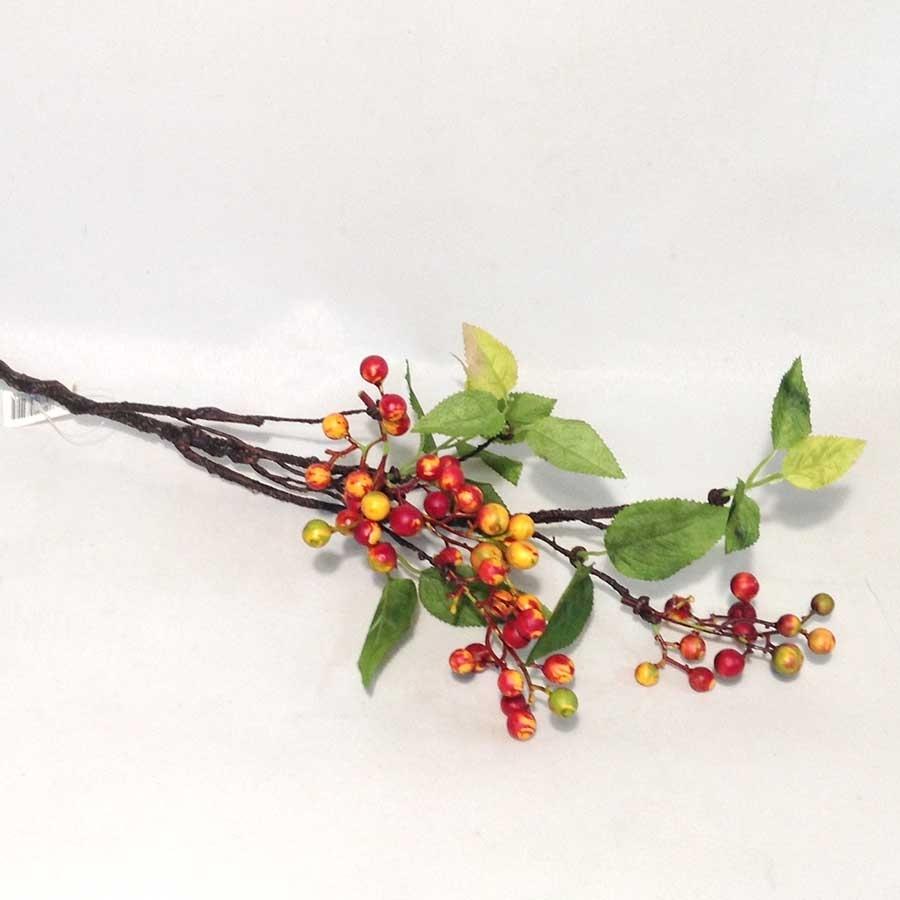Ветка с листьями и оранжевыми ягодами 65см