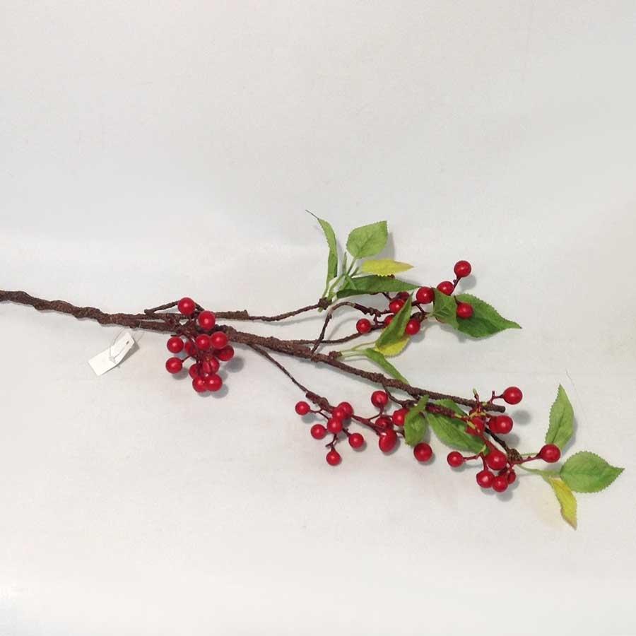 Ветка с листьями и красными ягодами 65см