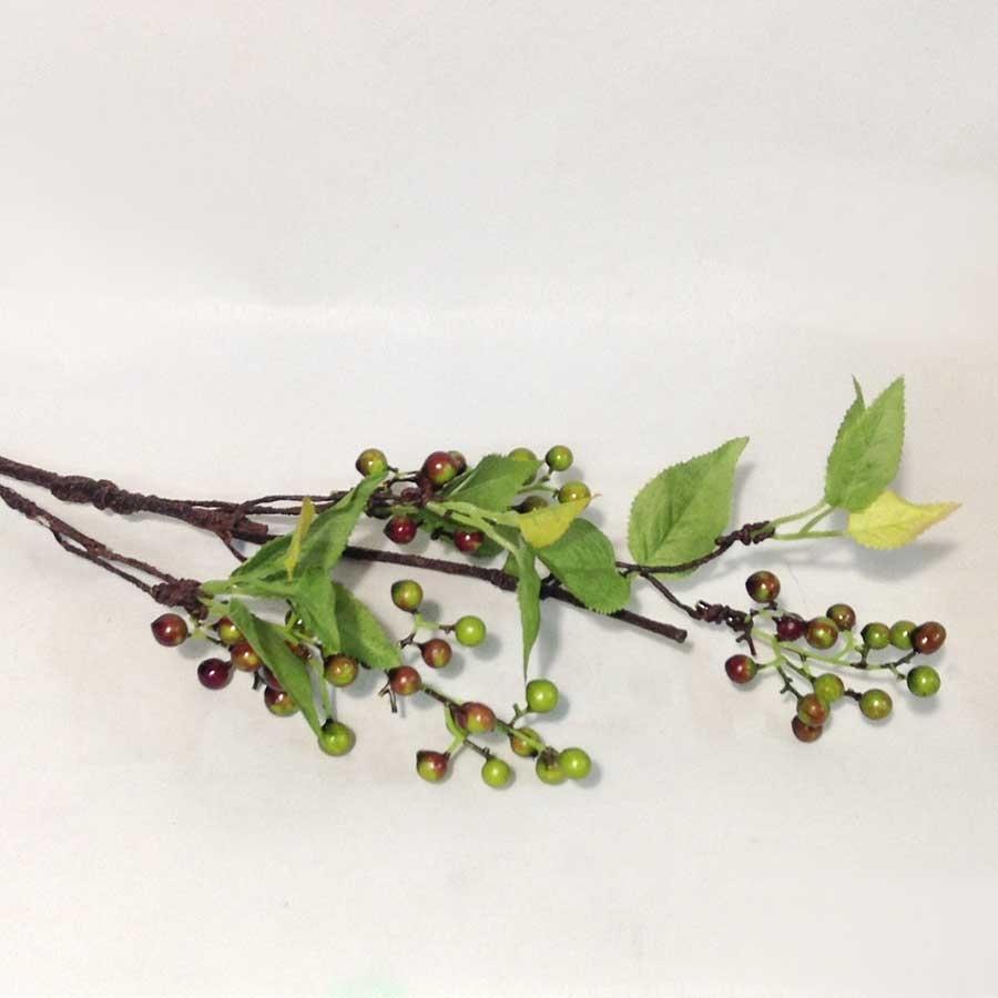 Ветка с листьями и зелеными ягодами 65см