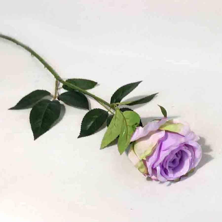 Ветка розы сиреневая 65см