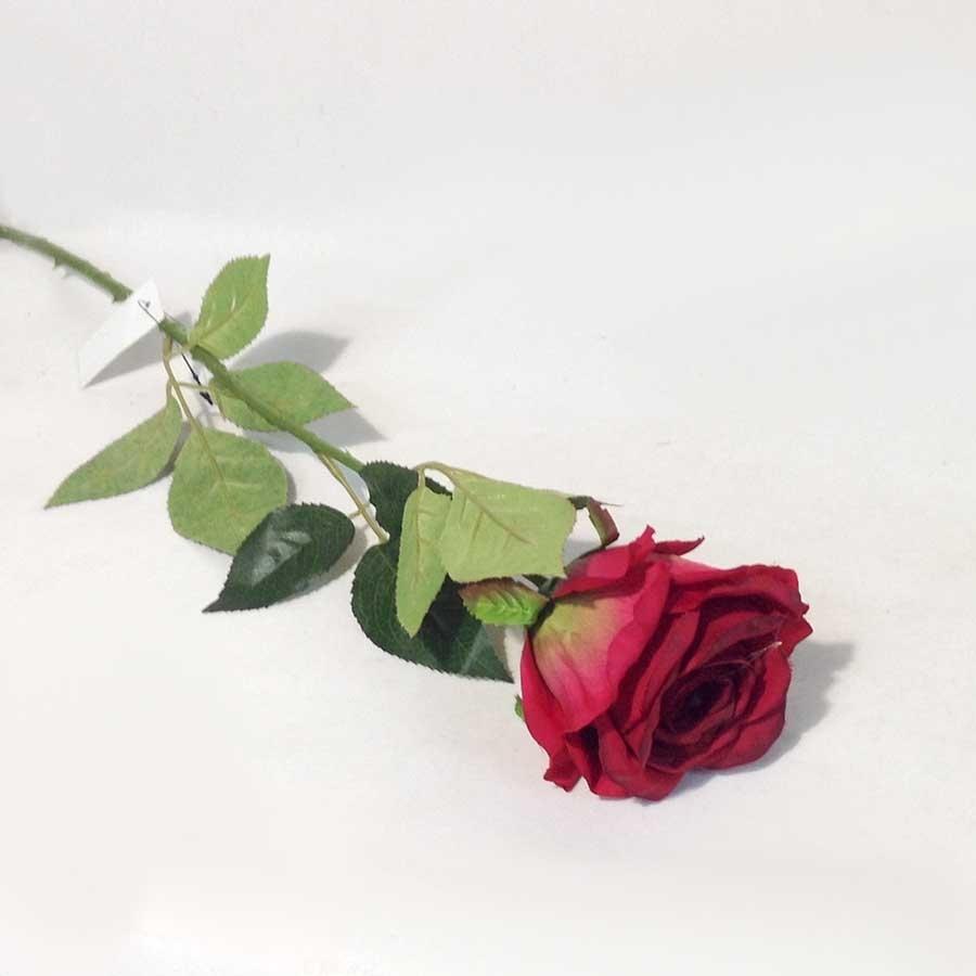 Ветка розы бордовая 65см