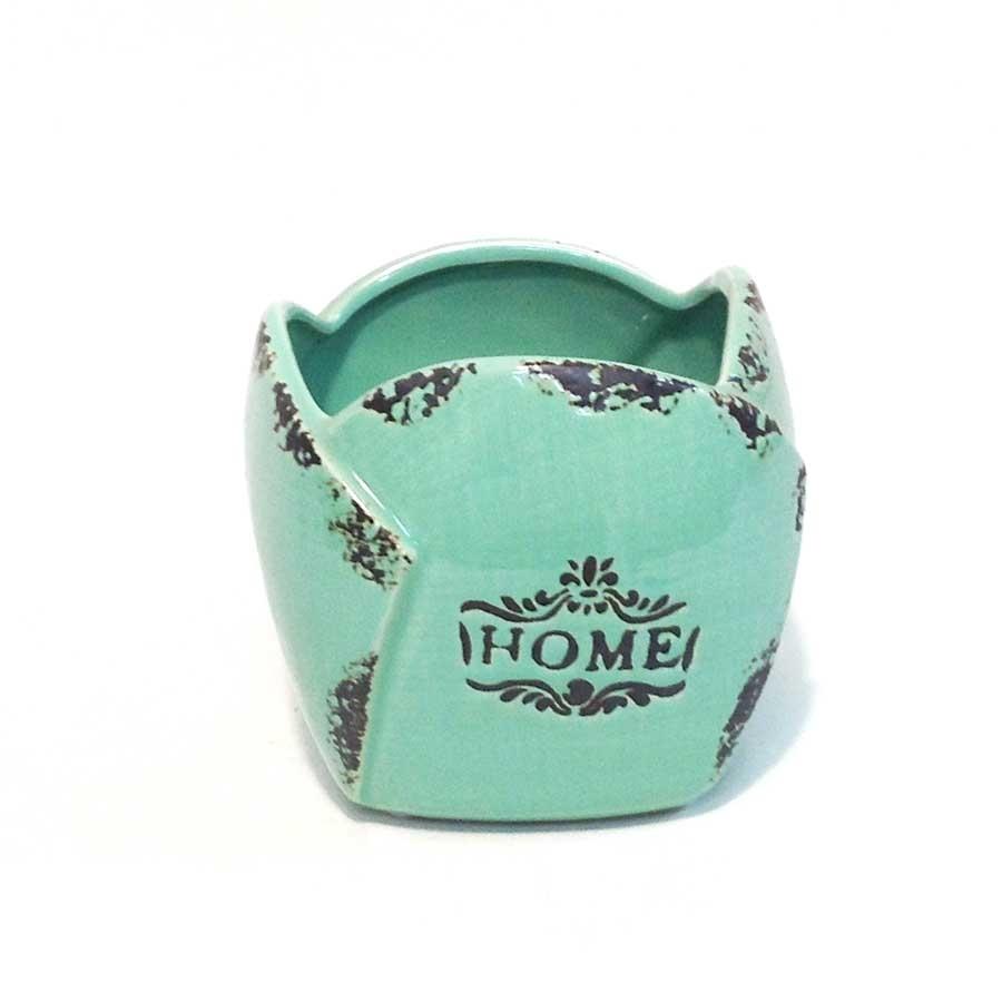 Кашпо керамическое HOME 12х12см бирюзовое