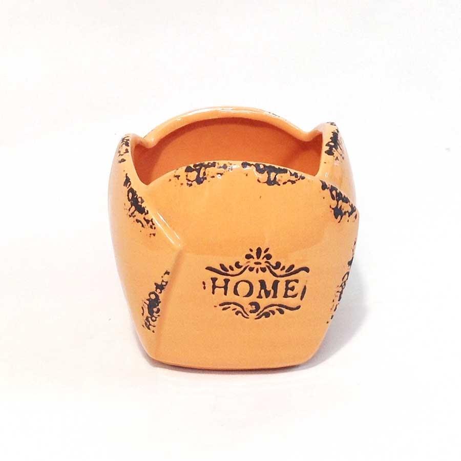 Кашпо керамическое HOME 12х12см оранжевое