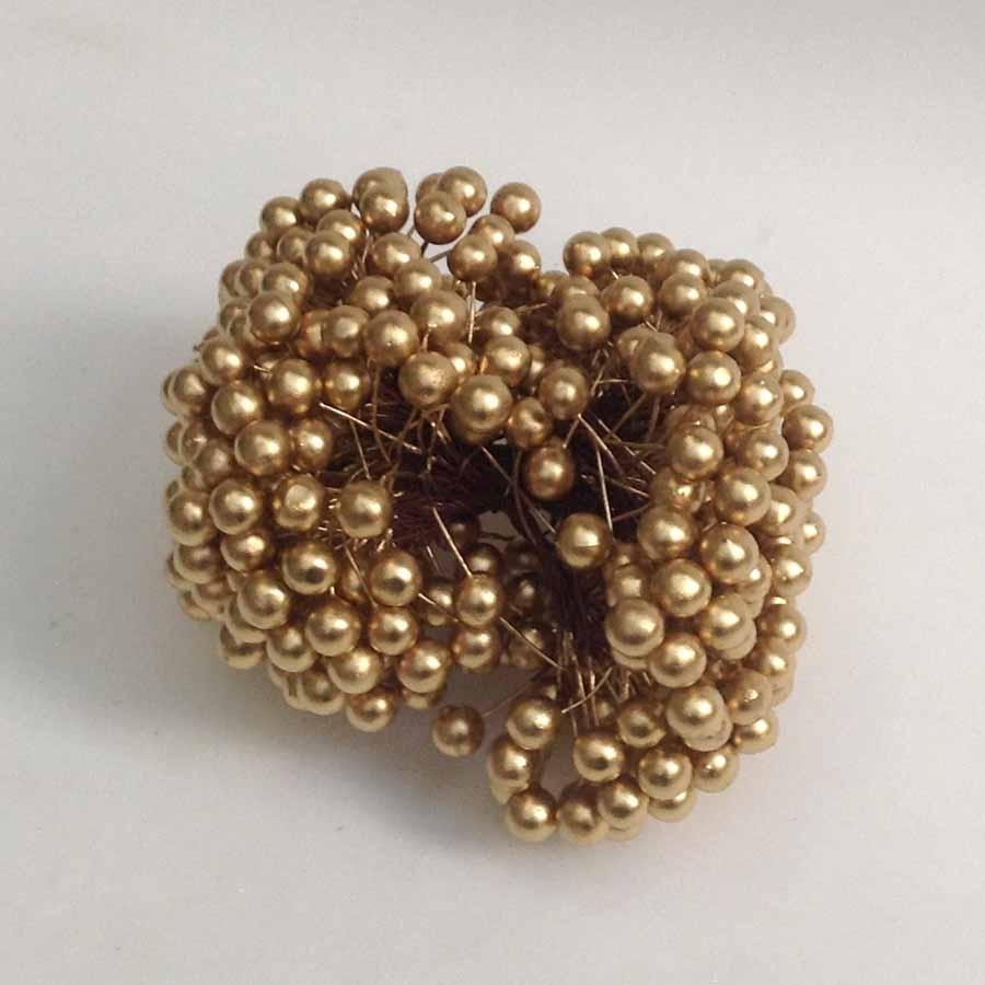 Ягодка декоративная 12мм золотая