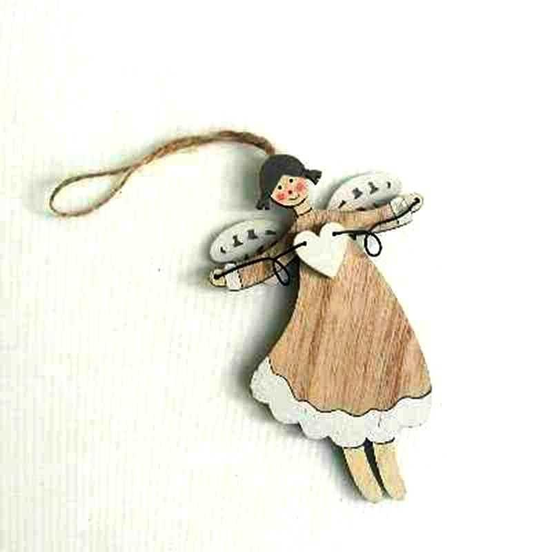 Подвеска деревянная Ангел-девочка 12х8см
