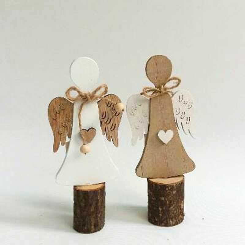 Фигурка деревянная Ангелочек на спиле дерева 2 вида - 15см