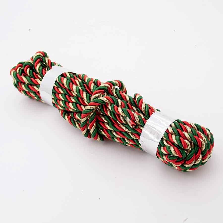 Шнур декоративный с люрексом красно-зеленый с золотом 5мм- 9м