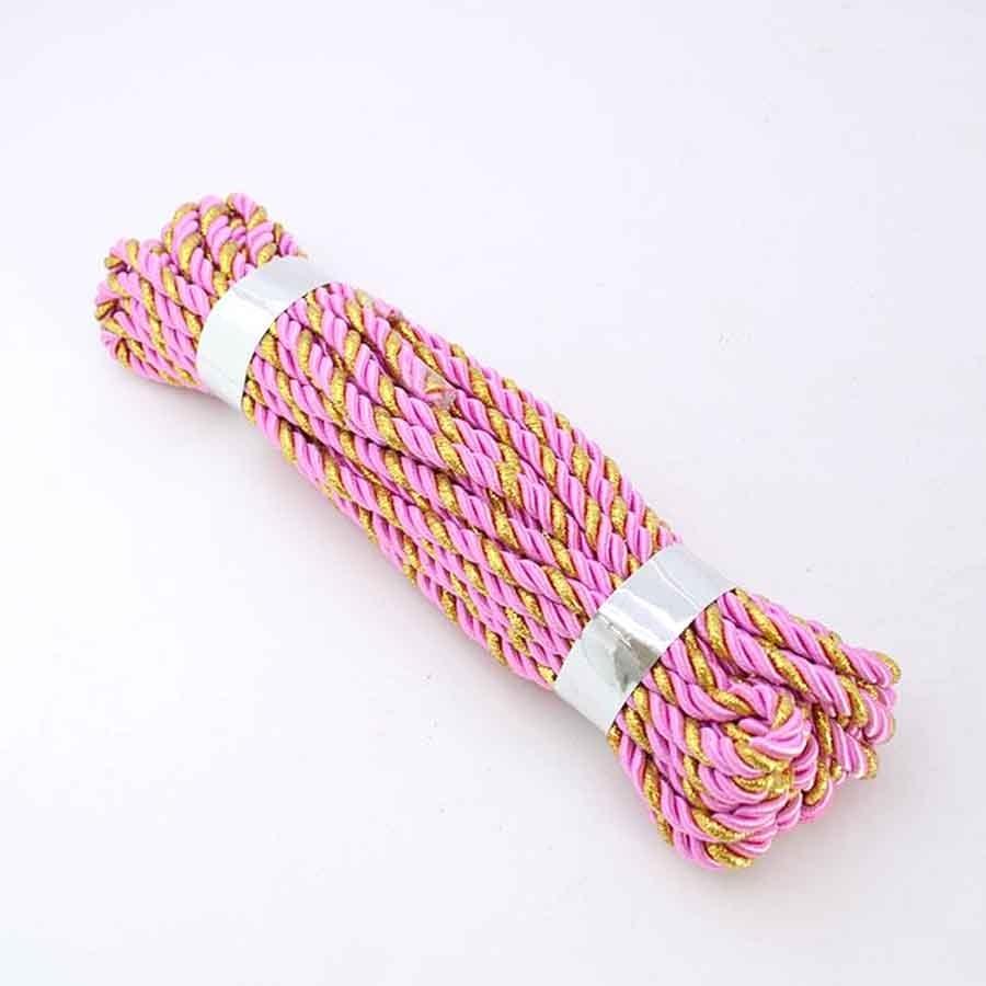Шнур декоративный с люрексом розовый с золотом 5мм- 9м